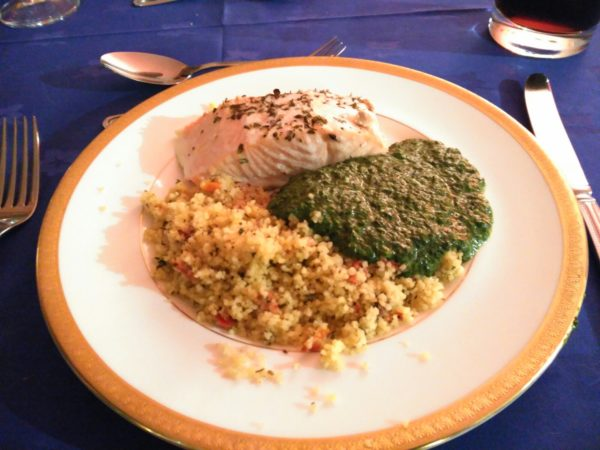 Baked Salmon with Mediterranean Couscous, served with Creamed Spinach